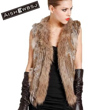 AISHGWBSJ 2017 New Women Real Genuine Knit Rabbit Fur Vest With Raccoon Fur Gilet Waistcoat Winter Fur Jacket LY1728
