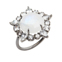 White Gold Moonstone Ruffle Diamond Cocktail Ring