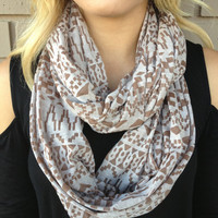 Mocha Tribal Burnout Infinity Scarf