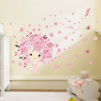 Fairies Girl Butterfly Flowers Wall Stickers For Kids Rooms Wall Art Decal Home Decor Mural Children Nursery Home Decoration