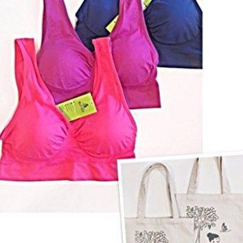 But Fly 3  Pack WireFree Full Coverage Padded Comfortable Bralette  Free Art Canvas Gym Tote  LXL