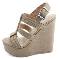 Braided T-Strap Platform Wedges by Charlotte Russe - Taupe