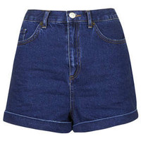 MOTO Indigo Rinse Mom Shorts - Indigo Denim
