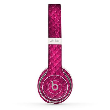 The Pink Snake Skin Texture Skin Set for the Beats by Dre Solo 2 Wireless Headphones