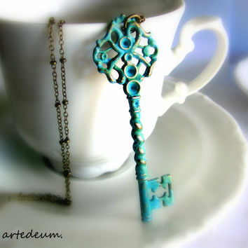Skeleton Key Necklace Antique style Skeleton key Vintage Inspired  Key Pendant Blue Key