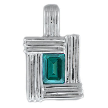 Green Topaz Octagon Pendant in Sterling Silver