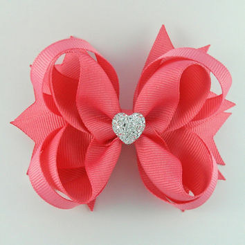 Coral Rose Stacked Boutique Hair Bow with Sparkly Heart~ Gift for Her~ Gift for Child~ Photo Prop~ Coral Rose Hairbow~ Gift~ Party Favor
