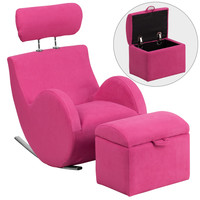 Flash Furniture HERCULES Series Pink Fabric Rocking Chair with Storage Ottoman [LD-2025-PK-GG]
