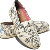 TOMS Natural Rope Print Women's Classics Slip-on Shoes,