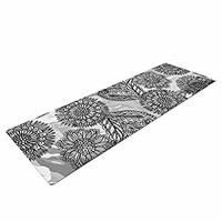 "KESS InHouse Yoga Mat Julia Grifol ""Flowers in Gray"" black Gray Vector Yoga Mat, 72"" x 24"""