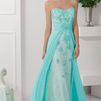 Shirred Lace Gown by Mori Lee VM