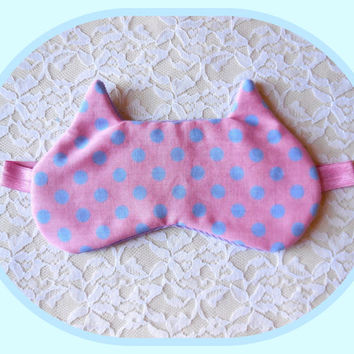 Pink Eye Mask - Cat Ears Sleep Mask - Pink Purple Polka Dots - Soft Corduroy Cotton - Kitten Shaped Eye Mask