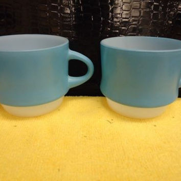 Fire King Robin Blue Stackable Coffee Mugs Set of 2 Vintage Anchor Hocking