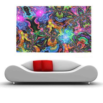 HOT 100cmx60cm Psychedelic Trippy Art Silk Cloth Poster Photo Fabric Home Decor 100cmx60cm