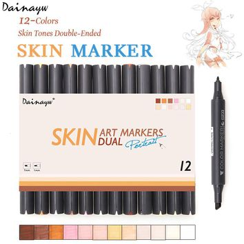 Dainayw 12 Colors Sketch Skin Tones Copic Marker Pen Artist Double Headed Alcohol Based Manga Art Markers for School Supplies