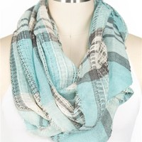 Frayed Plaid Eternity Scarf
