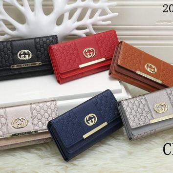 """Gucci"" Women Purse Clutch Fashion Simple Letter Long Section Double Layer Button Flip Wallet"