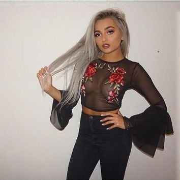 ac DCCKB5Q Lace Tops Flowers Embroidery Crop Top Ruffle Round-neck T-shirts [10033921219]