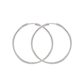 Sterling Silver Hinged Continuous Endless Wire Hoop Earrings, 12mm - 60mm (2mm Tube)