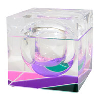 Mid Century Multi-Colored Cube-Form Lucite Ice Bucket