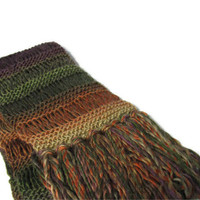 Autumn Tapestry Hand Knit Scarf - Green Orange Brown Purple