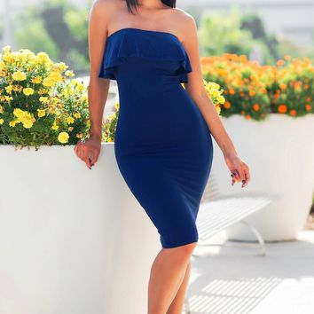 Chantell Off Shoulder Dress - Navy