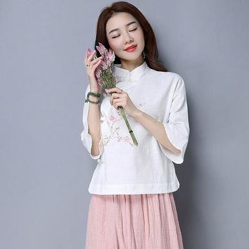 New Summer Vintage Mandarin Collar Print China Wind Plate Buckles Cotton And Linen Blouse Shirt White Pink 5181