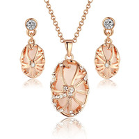 Rose Gold Tone Vintage Oval Shape Pendant Necklace and Earrings Set