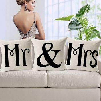 Mr&Mrs Home Sofa Decorative Throw Pillow Case Cushion Cover