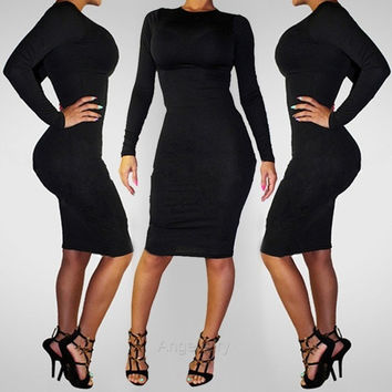 Bandage Dress Long Sleeve Bodycon Womens Pencil Black Zipper Back Ladies  A_L = 1658550596