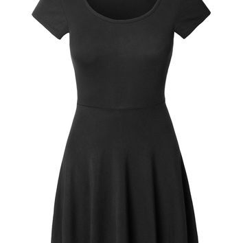 LE3NO Womens Casual Short Sleeve Fit and Flare Asymmetrical Skater Dress (CLEARANCE)