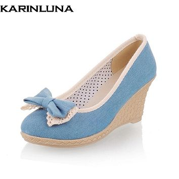 KARINLUNA Spring summer Denim Cloth sweet Bow Shallow shoes Woman Pumps wedges High Heel Women Shoes