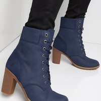 Timberland High Chunky Heel Lace Up Glancy Bootie in Dark Blue Nubuck