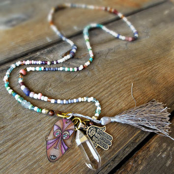 Layering beaded necklace, , Gypsy jewelry, Sterling silver Hamsa, Crystal necklace, Boho long necklace, Tassel, trade bead necklace.