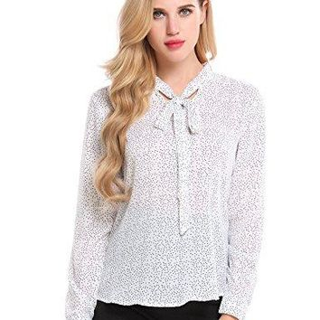 cindere Womens Chiffon Long Sleeve Button Down Solid Shirt Blouse Tops