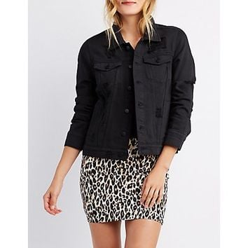 Refuge Destroyed Denim Jacket | Charlotte Russe