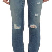 Shredded Zip-Ankle Capri Jeans - SHREDDED