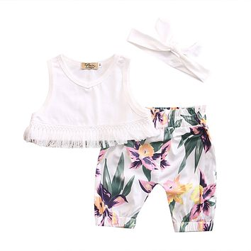 Cute Newborn Baby Girl Clothes 2017 Summer Sleeveless Tassel Crop Tops Vest +Floral Printed Pant Trouser Children Clothing Set