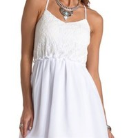 Backless Chiffon & Lace Dress by Charlotte Russe - Ivory