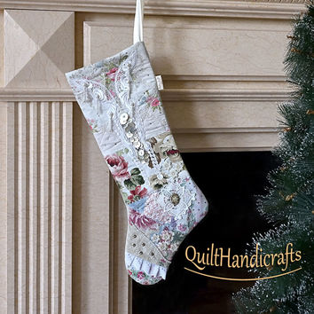 Christmas stocking Style Shabby chic Floral motifs Quilted Patchwork Unique gift Christmas boot Holiday home decoration Victorian Cottage