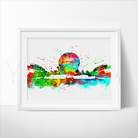 Epcot Center, Disney World Skyline Watercolor Art Print