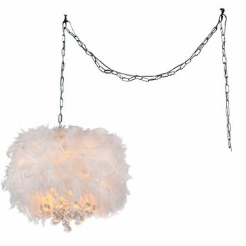 White Feather Swag Pendant Light