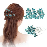 20pcs/lot Rhinestone butterfly Hair Clips Women Hairpins Wedding Bridal Hair Jewelry Bride Headdress Wedding Party Accessories