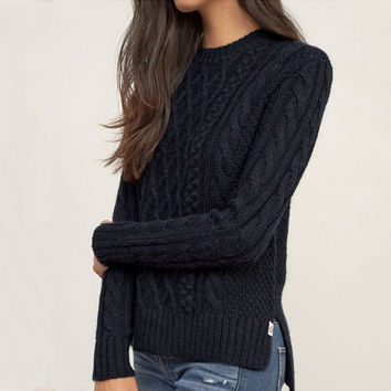 Patterned Knit Long Sleeve Slit Sweater