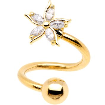 Clear Gem Gold PVD Jasmine Flower Spiral Twister Top Mount Belly Ring