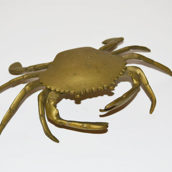 Vintage Brass Crab Ashtray Trinket Box Nautical Beach Decor Crab Figurine