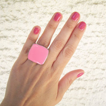 Hot pink statement ring, neon pink fuchsia rose cocktail ring big simple modern minimal silver glass dome adjustable summer greek jewelry