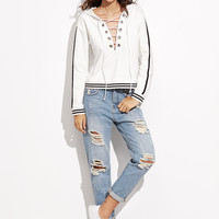 White Striped Trim Lace Up Hoodie -SheIn(Sheinside)