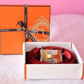 NEW HERMES 95 RED ROUGE CASAQUE PINK CONSTANCE 42 mm WIDE BELT SET H GOLD BUCKLE