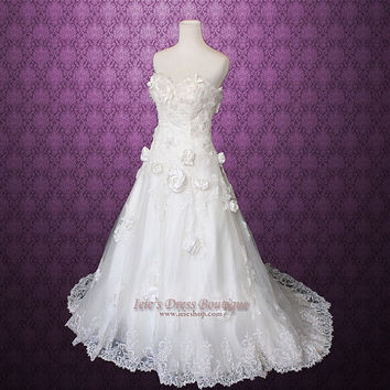 Size 4 Strapless Rosette Sweetheart A-line Wedding Dress